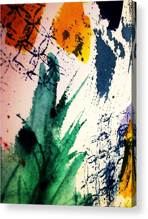 Splashes Of Color Acrylic Print featuring the painting Abstract - Splashes Of Color by Ellen Levinson