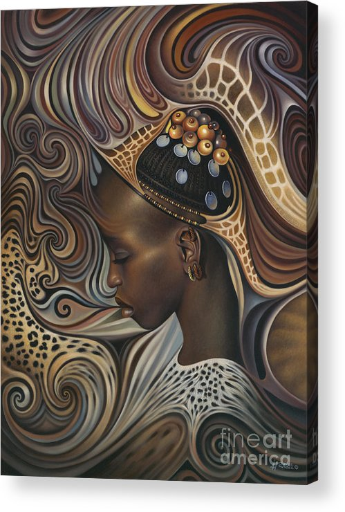 African Acrylic Print featuring the painting African Spirits II by Ricardo Chavez-Mendez