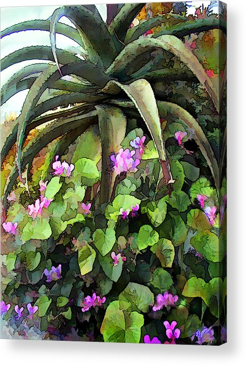 Cactus Acrylic Print featuring the painting Agave And African Violets by Elaine Plesser