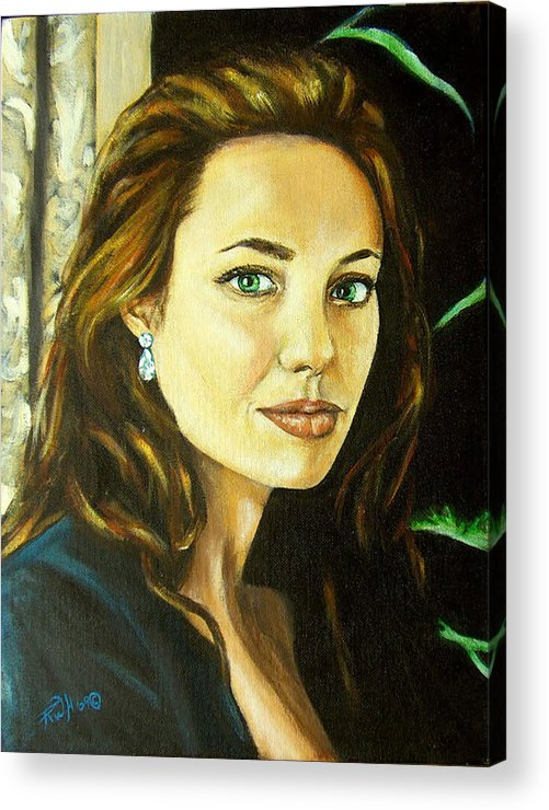 Portrait Acrylic Print featuring the painting Angelina Jolie by Rusty W Hinshaw