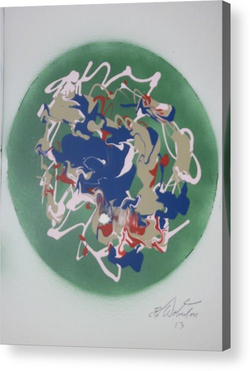 Neutrons Acrylic Print featuring the painting Atomic Fusion With Oxygen Based Neutrons by Edward Wolverton
