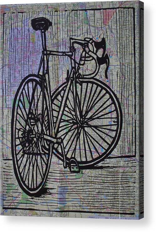 Bike Acrylic Print featuring the drawing Bike 4 On Map by William Cauthern
