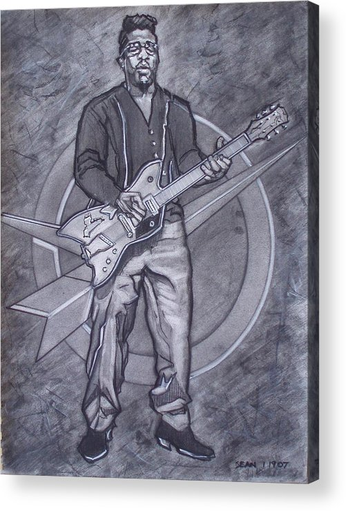 Texas;charcoal;king Of Rock;rock And Roll;music;1950s;blues;musician;funk;electric Guitar;marble;soul Acrylic Print featuring the drawing Bo Diddley - Have Guitar Will Travel by Sean Connolly