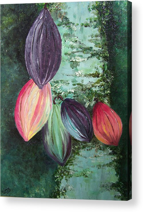Cocoa On The Tree Acrylic Print featuring the painting Cocoa Pods by Karin Dawn Kelshall- Best