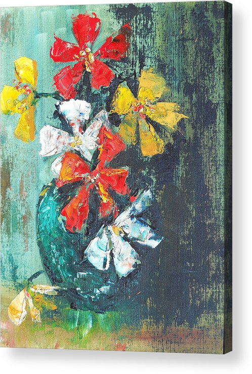 Flowers Acrylic Print featuring the painting Daisies In A Green Vase by Olga Kaczmar