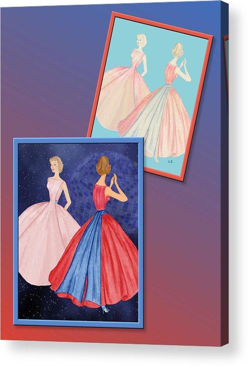 Fashion Acrylic Print featuring the drawing Dress Design 52 by Judi Quelland
