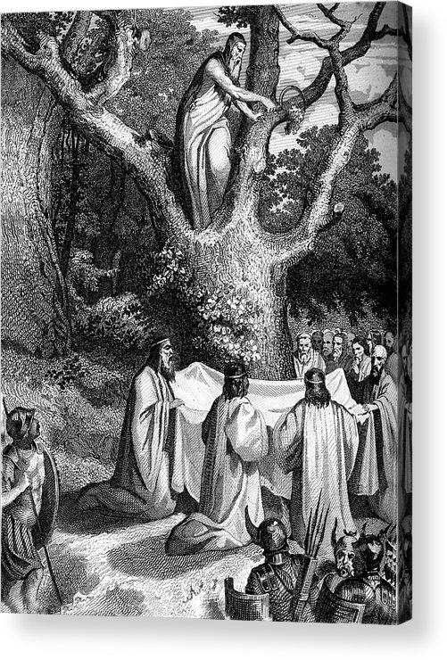 Black And White Acrylic Print featuring the photograph Druids Worshipping by Collection Abecasis
