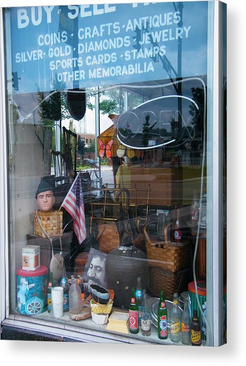 Collectables Acrylic Print featuring the photograph Ed's Collectables Window Display by Rory Cubel
