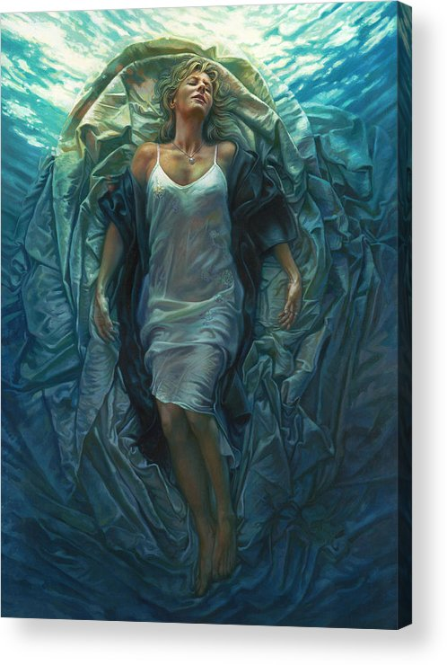 Conceptual Acrylic Print featuring the painting Emerge Painting by Mia Tavonatti