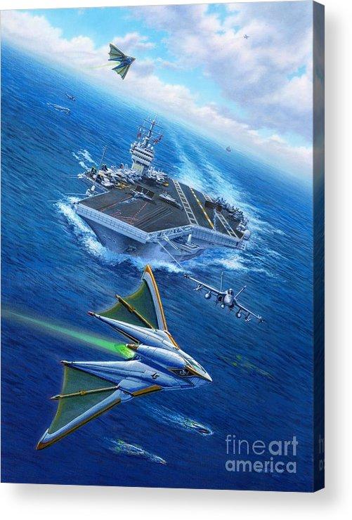 Atlantis Acrylic Print featuring the painting Encountering Atlantis by Stu Shepherd