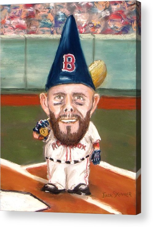 Boston Red Sox Acrylic Print featuring the painting Fenway's Garden Gnome by Jack Skinner