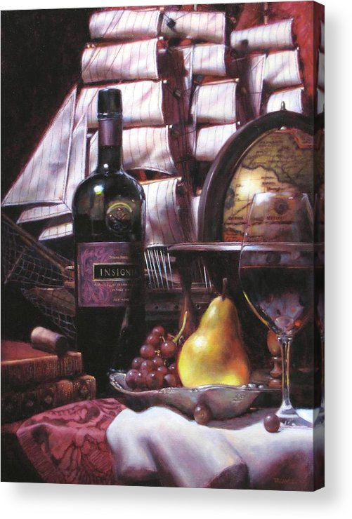 Wine Still Life Acrylic Print featuring the painting Fine Wine For New Voyage by Takayuki Harada