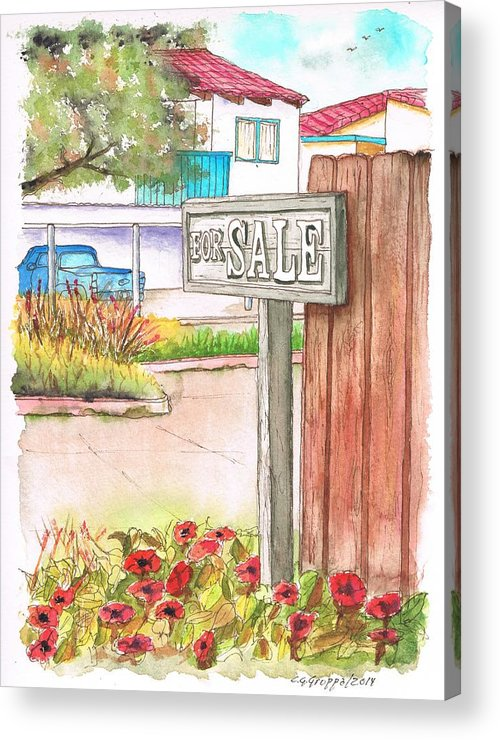 For Sale Sign Acrylic Print featuring the painting For Sale Sign In Goleta Beach, California by Carlos G Groppa