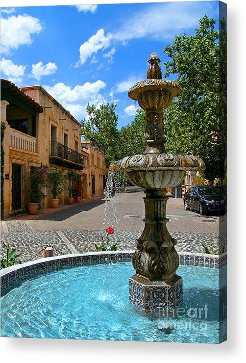 Tlaquepaque Acrylic Print featuring the photograph Fountain At Tlaquepaque Arts And Crafts Village Sedona Arizona by Amy Cicconi