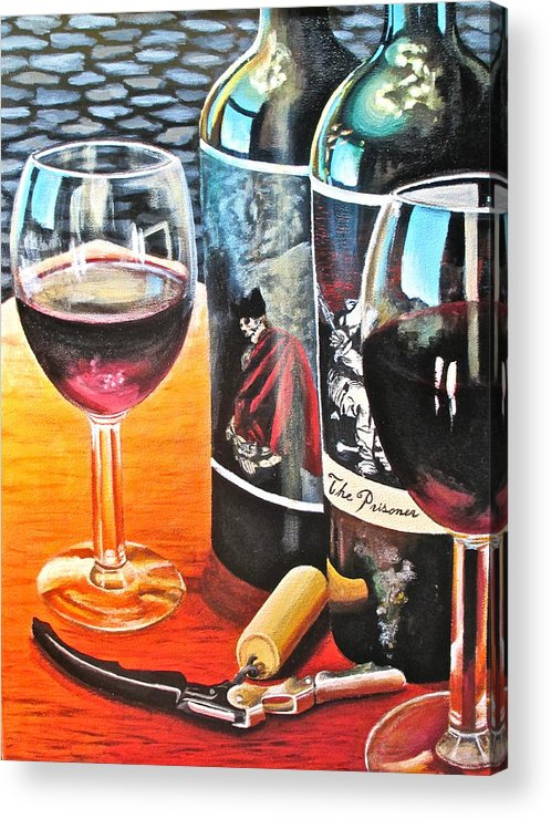 Wine Paintings Acrylic Print featuring the painting Friends From Napa by Tim Eickmeier