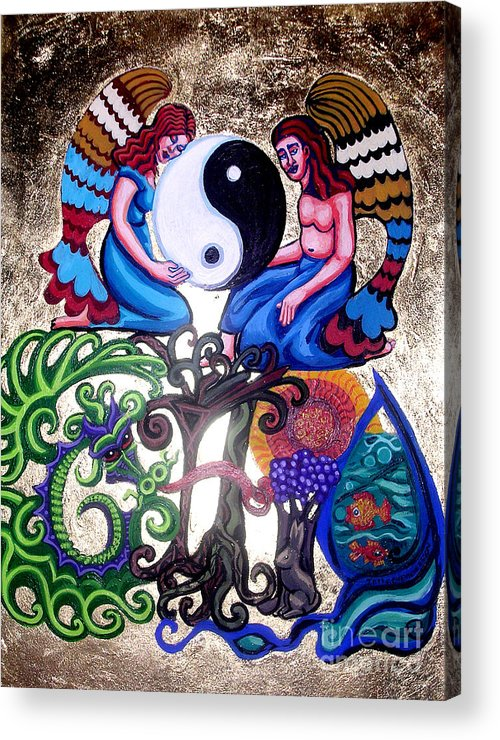 God And Gaia Acrylic Print featuring the painting God And Gaia by Genevieve Esson
