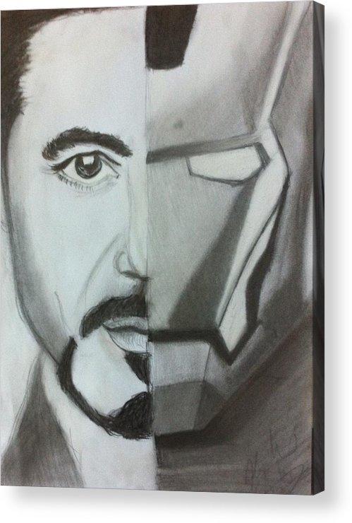 Robert Downey Jr. Acrylic Print featuring the drawing Iron Man by Hannah Arehart