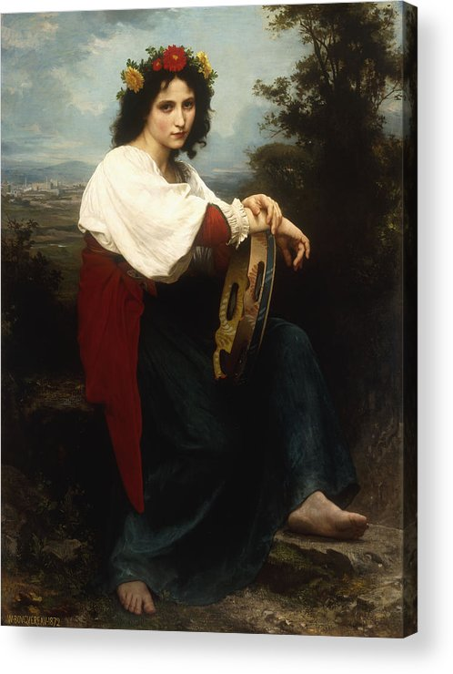 Italian; Woman; Female; Girl; Portrait; Tambourine; Musical; Instrument; Music; Seated; Rural; Landscape; Countryside; Provincial; Flower; Flowers; Hair; Garland; Headdress; Barefoot; Neo-classical; Acrylic Print featuring the painting Italian Woman With A Tambourine by William Adolphe Bouguereau