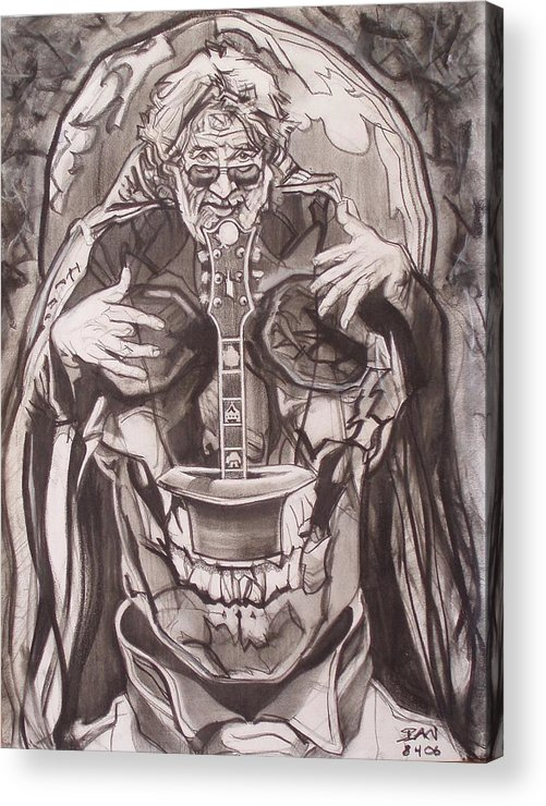 Charcoal; Skull;guitar;music;magic;mystic;wizard;cape;hat;shades;grateful Dead;deadheads Acrylic Print featuring the drawing Jerry Garcia . . Magic Is What We Do - Music Is How We Do It by Sean Connolly