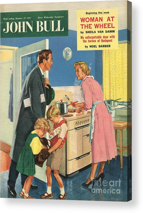1950�s Acrylic Print featuring the drawing John Bull 1957 1950s Uk Cooking by The Advertising Archives