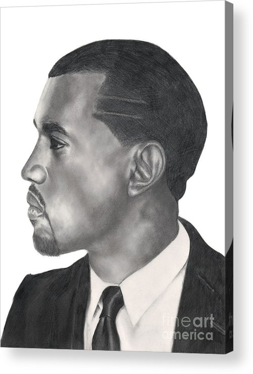 Kanye Acrylic Print featuring the drawing Kanye West by Michael Durocher