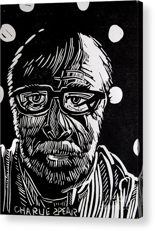 Auto-portrait Acrylic Print featuring the relief Lino Cut Charlie Spear by Charlie Spear