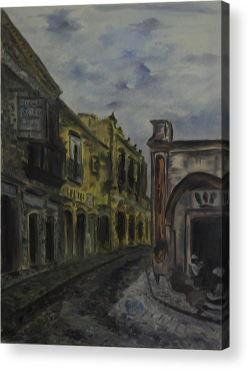 Country Street Paintings Acrylic Print featuring the painting Little Town Corner by Jaime Rodriguez-raigoza