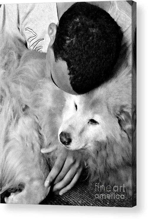 Luke And Little Bear Acrylic Print featuring the photograph Luke And Little Bear by Sarah Loft