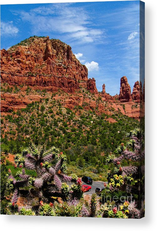 Arid Acrylic Print featuring the photograph Madonna And Child Two Nuns Rock Formations Sedona Arizona by Amy Cicconi