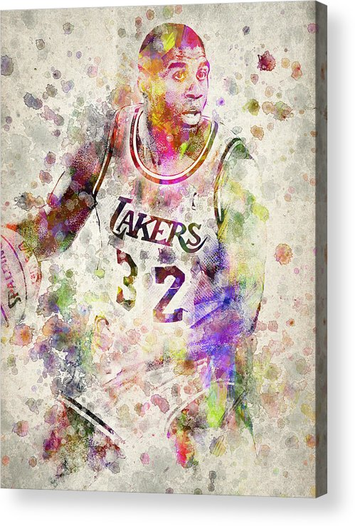 Magic Johnson Acrylic Print featuring the digital art Magic Johnson by Aged Pixel