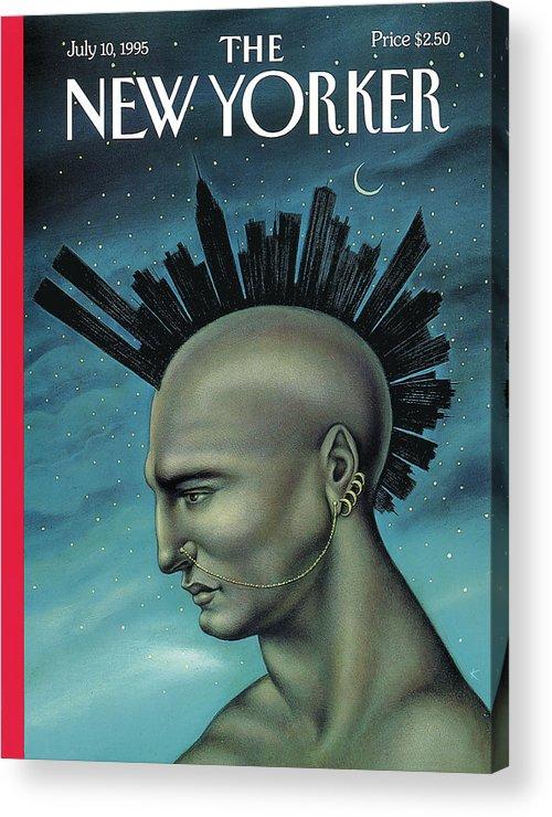 Mohawk Acrylic Print featuring the painting Mohawk Manhattan by Anita Kunz