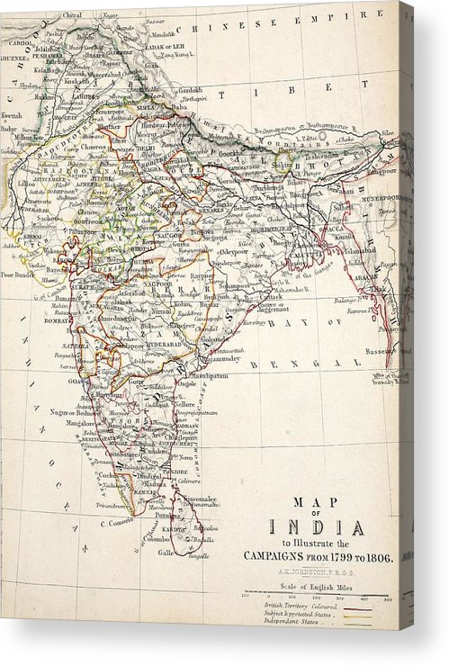Map Acrylic Print featuring the drawing Map Of India by Alexander Keith Johnson