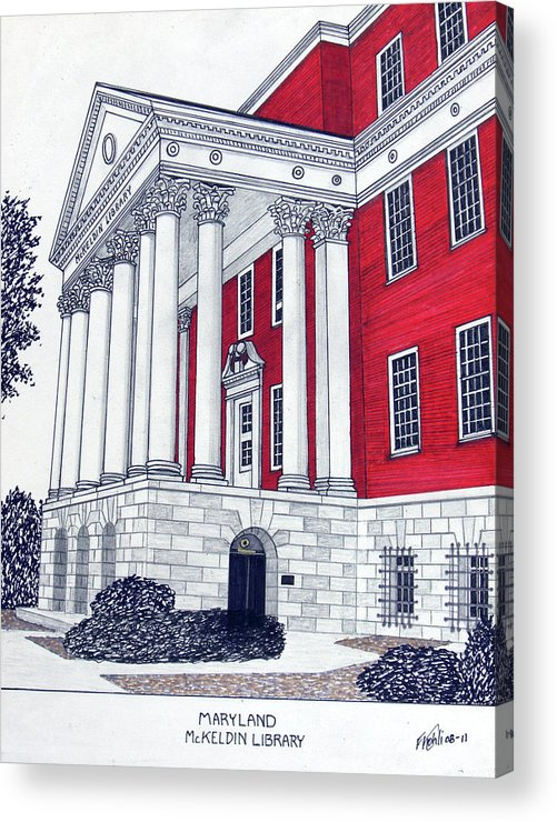 Maryland University Buildings Drawings Acrylic Print featuring the drawing Maryland by Frederic Kohli