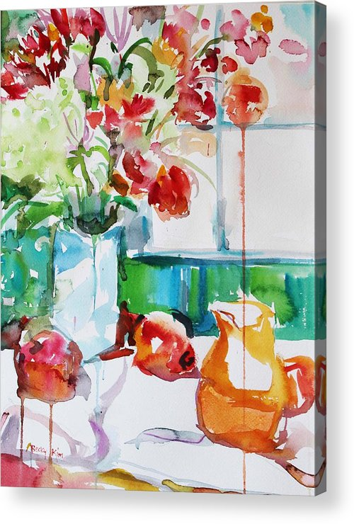 Floral Acrylic Print featuring the painting Morning Light by Becky Kim