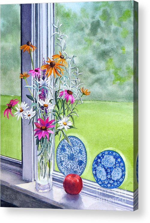 Flowers Acrylic Print featuring the painting My Kitchen Window by Karol Wyckoff
