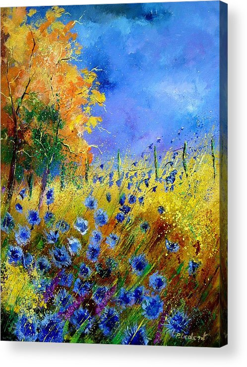 Poppies Acrylic Print featuring the painting Orange Tree And Blue Cornflowers by Pol Ledent