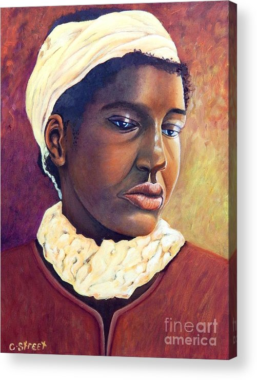 Portrait Acrylic Print featuring the painting Pensive Contemplation by Caroline Street