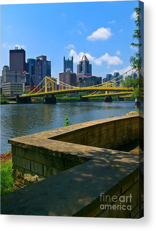 6th Street Bridge Acrylic Print featuring the pyrography Pittsburgh Pennsylvania Skyline And Bridges As Seen From The North Shore by Amy Cicconi
