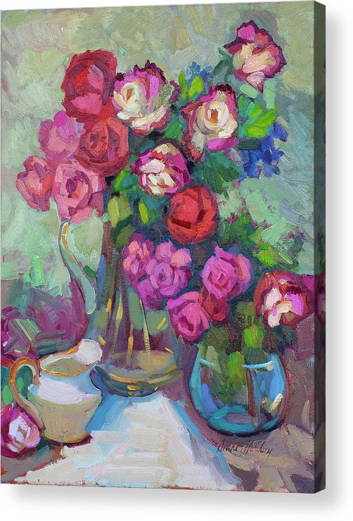 Roses Acrylic Print featuring the painting Roses In Two Vases by Diane McClary