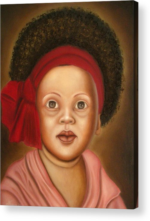 Portrait Acrylic Print featuring the painting Seventies by Alessandra Veccia