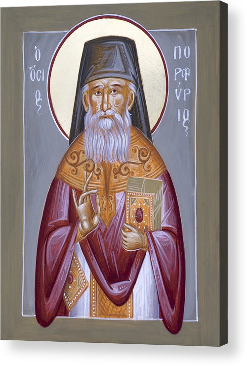 St Porphyrios Acrylic Print featuring the painting St Porphyrios The Kavsokalyvitis by Julia Bridget Hayes