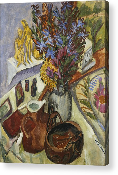 1910s Acrylic Print featuring the painting Still Life With Jug And African Bowl by Ernst Ludwig Kirchner