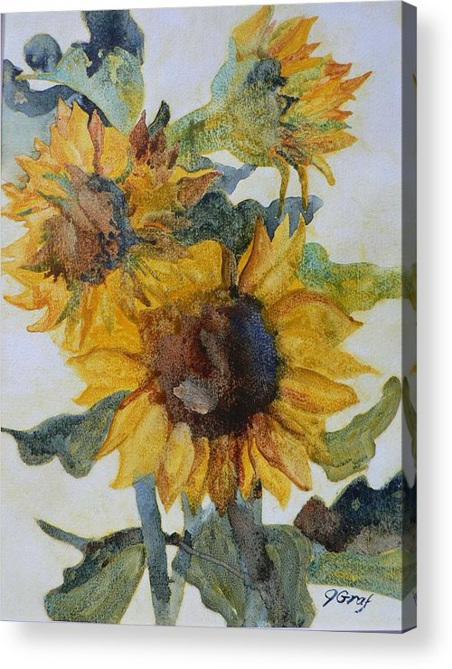 Still Life Acrylic Print featuring the painting Sunflowers by Julia Graf