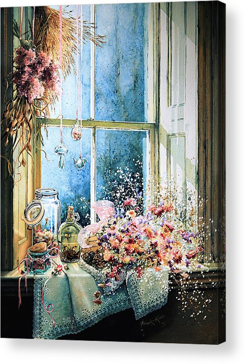 Window Acrylic Print featuring the painting Sweet Scents To Savor by Hanne Lore Koehler