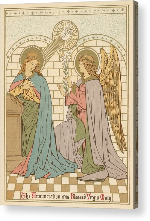 Saint Acrylic Print featuring the painting The Annunciation Of The Blessed Virgin Mary by English School