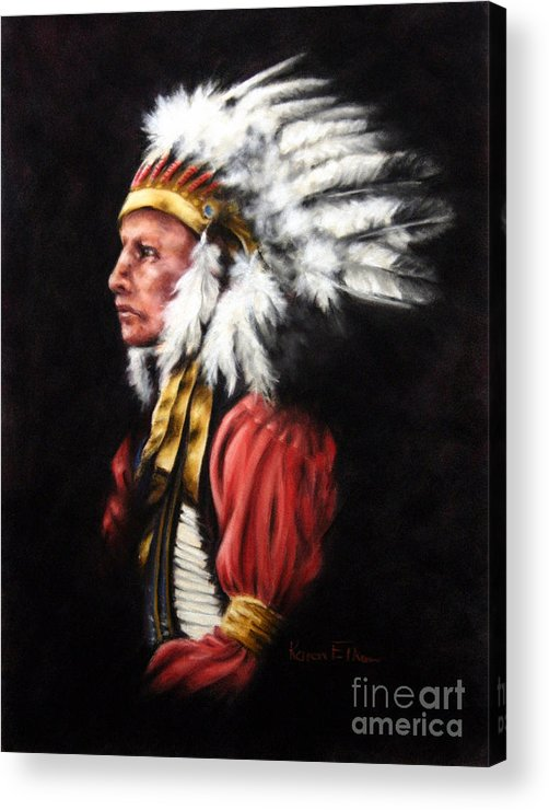 Native American Acrylic Print featuring the pastel The Chief 2 by Karen Elkan