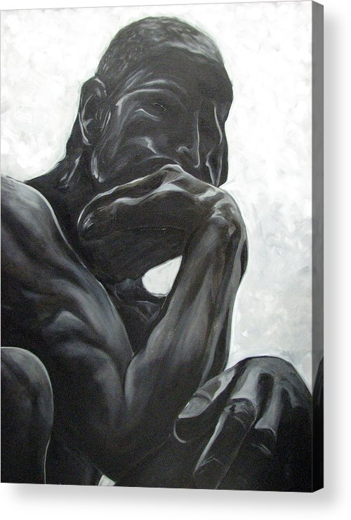 Black And White Paintings Acrylic Print featuring the painting The Thinker by Aimee Vance