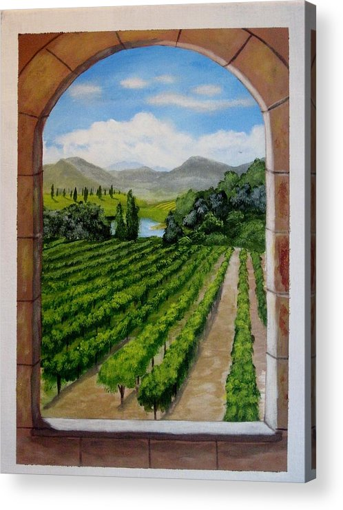 Vineyard Acrylic Print featuring the painting The Vineyard by Rich Fotia