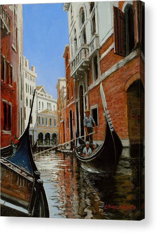 Venice Gondola Acrylic Print featuring the painting Tight Quarters by Michael Swanson