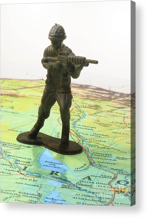Aggression Acrylic Print featuring the photograph Toy Solider On Iraq Map by Amy Cicconi